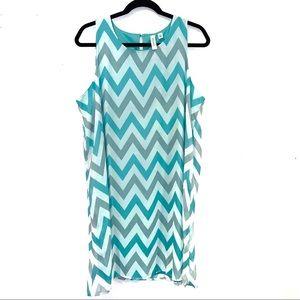 Tacera Blue, Grey, White Chevron Dress